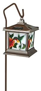 Moonrays 92271 Hummingbird Style Solar Light Stained Glass Outdoor Lamp Hummingbird Stained Glass
