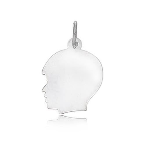 14K White Gold Boy's Head Charm (18 x 28 mm)