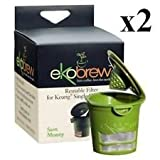 Ekobrew Cup, Refillable K-cup for Keurig K-cup Brewers, Green (Pack of 2)