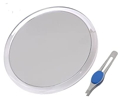 DB-Tech Large Suction Cup Magnifying Mirror with Precision Tweezer
