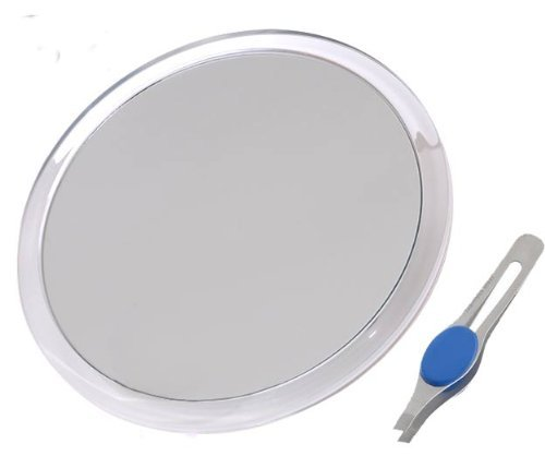 "Dbtech Large 5"" Suction Cup 10X Magnifying Mirror With Precision Tweezers front-59444"