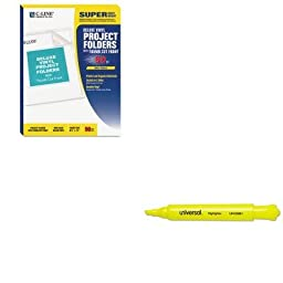 KITCLI62138UNV08861 - Value Kit - C-line Deluxe Project Folders (CLI62138) and Universal Desk Highlighter (UNV08861)