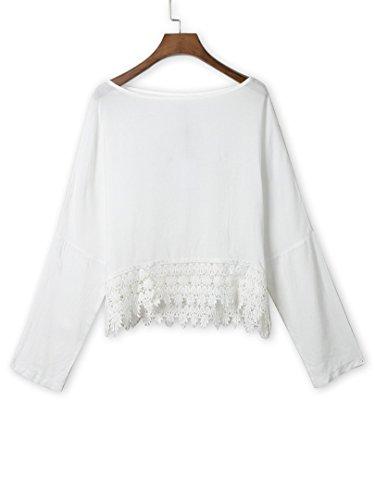 Persun Women White Lace Hem Long Sleeve Plain Blouse