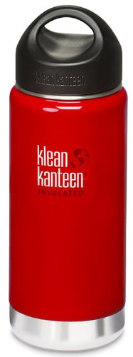 Klean Kanteen Wide Mouth Insulated Water Bottle With Loop Cap,16 Ounces,Sangria Red front-931475