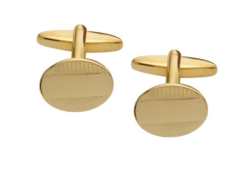 Code Red Gold Plated Oval Cufflinks with Engraved Pattern