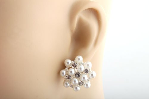 Ladies Silver with White Abstract Glass Beads & Stones Style Clip-on Earrings