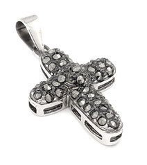 Sterling Silver Black Marcasite Pave Cross Pendant