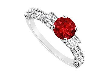 Ruby and Diamond Engagement Ring : 14K White Gold - 1.00 CT TGW Size 10