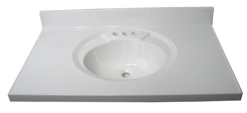 Crane Plumbing Astra-Lav Cultured Marble Lavatory Vanity Top with Recessed Sink, White #8379-67