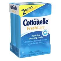 Cottonelle Fresh Care Flushable Cleansing Cloths contain aloe and vitamin E so they are gentle on sensitive skin.
