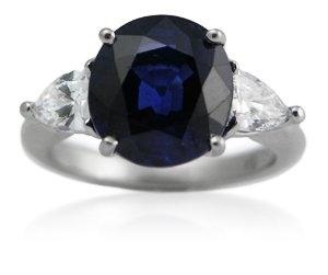 Diamond & Blue Ceylon Sapphire 3 Stone 18k White Gold Right Hand Ring