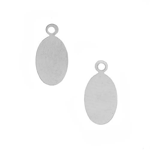 Sterling Silver Stamping Blank Small Oval Tag Pendants 17mm (2)
