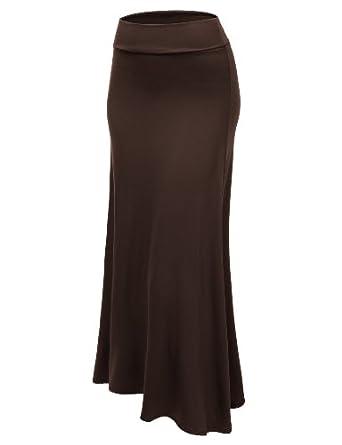 Stanzino Women's Solid High Waist Long Skirt