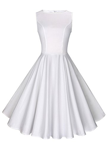 Anni Coco Women's 1950s Hepburn Vintage Swing Dresses White XX-Large