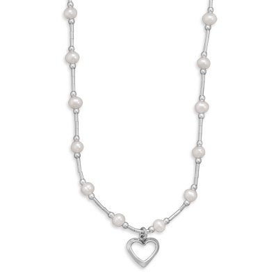 Childs Liquid Silver White Pearl Open Heart Necklace Sterling Silver, Made in the USA