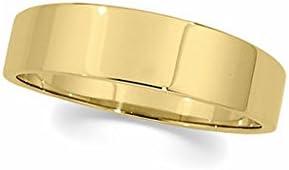6mm Flat Tapered Wedding Band in 10 Karat Yellow Gold