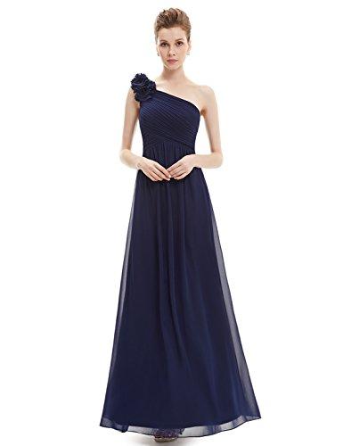 Ever Pretty Womens One Shoulder Long Formal Chiffon Bridesmaids Dress 4 US Navy Blue