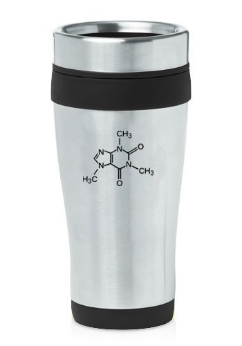 Black 16oz Insulated Stainless Steel Travel Mug Caffeine Molecule
