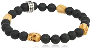 King Baby Men's 8mm Onyx Bead with 4 Small Bone Skull Stations Bracelet, 8.75