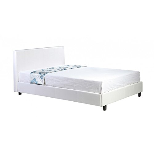 4ft6 Double Low Frame White Faux Leather Bed Frame - Also available in Black or Brown - Choice of Quality Mattresses...