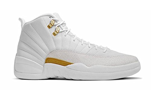 Air-12-Retro-Mens-WhiteGold-OVO-White-Leather-Basketball-Shoes
