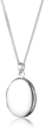 Silver Plain Medium Oval Shaped Locket with 46cm Chain