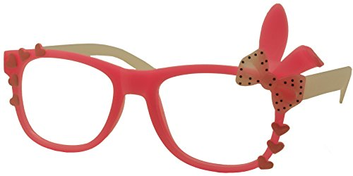 FancyG® Cute Fashion Glasses Frame Rabbit Ear Bow Tie NO LENS - Pink with White Arms