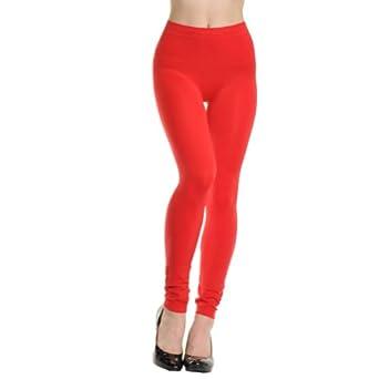 Angelina Full-Length Seamless Leggings, Red, One Size
