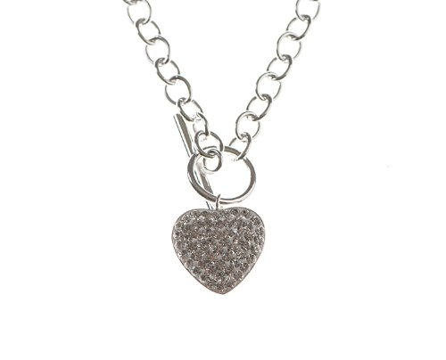 Silver 17 Inches Belcher and Crystal Set Heart Necklet with T-Bar Clasp