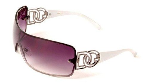 D.G DG ® Eyewear - with FREE Sunglasses Bag - White with Smoke Mirror Flash Lens Ladies Designer Women's Sunglasses
