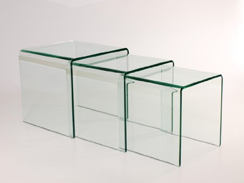 MILAN BENT GLASS NEST OF 3 CLEAR SIDE TABLES