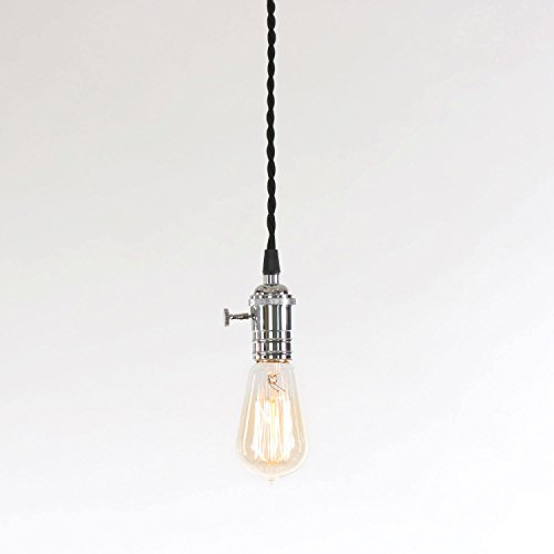 LampLust Polished Chrome Single Socket Tillary Pendant with Vintage Filament Bulb, Black