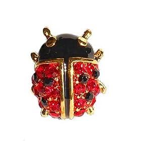 283c712110d Petite Ladybug Pin 24K Gold Swarovski Crystals Brooch Red Black Small  Cristal Alfiler FREE SHIPPING: Home & Kitchen