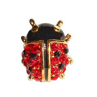 Petite Ladybug Pin 24K Gold Swarovski Crystals Brooch Red Black Small Cristal Alfiler FREE SHIPPING