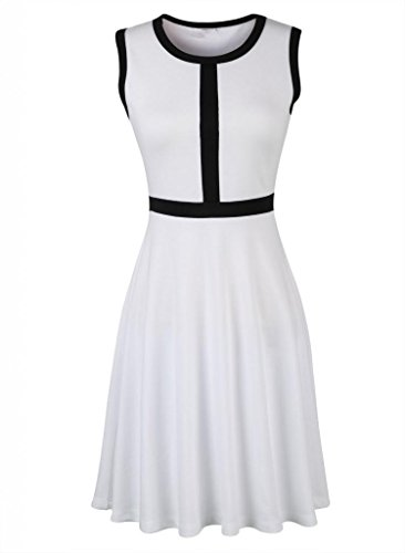 Viwenni Women'S Summer Holidays Round Neck Skirt Mini Tea Party Cocktail Dresses 12 White