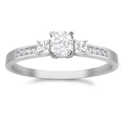 0.62 Carat Three Stone Cheap Engagement Ring with Round cut Diamond on 14K White gold