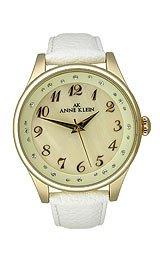 AK Anne Klein Leather White Strap Mother-of-pearl Dial Women's watch #10/9198CMWT