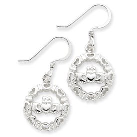 Sterling Silver Claddagh Wire Earrings