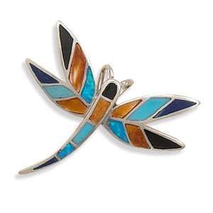 Multicolor Stone and Synthetic Opal Dragonfly Slide