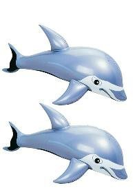 Set of (2) Inflatable Dolphins (36in.) / Flipper / Party Favor / Decor / Gift / Prize / Giveaway