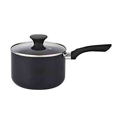 Cook N Home Nonstick Sauce Pan with Lid, 3 quart, Black