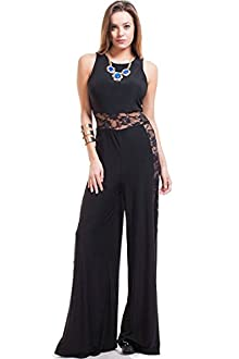 Nyteez Women's Sleeveless Jumpsuit with Wide Leg Lace Panels (Medium)