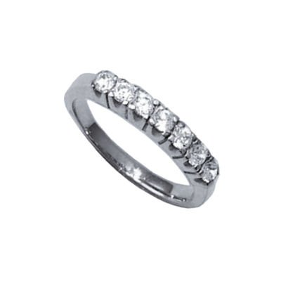 Ladies Sterling Silver 3 mm Wide Clear Cubic Zirconia Eternity Style Ring