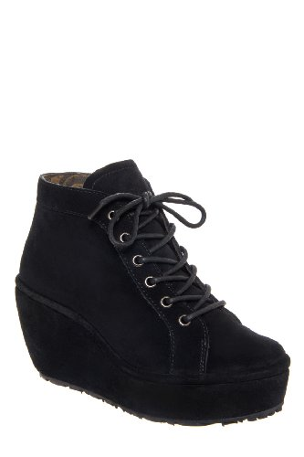 Fly London Poss High Wedge Bootie - Black Suede