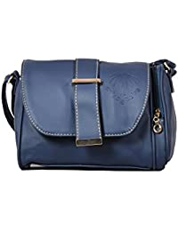 Urban Stitch Casual Navy Blue Leatherette Sling Bag