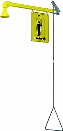 "Bradley S19-120BF Galvanized Steel 1 Spray Head Barrier Free Safety Shower with Plastic Showerhead, Wall Mount, 20 GPM Water Flow, 9"" Width x 45"" Height x 24"" Depth"