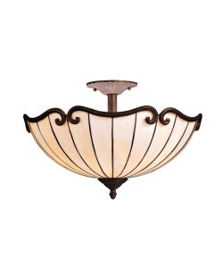 B0017QT0N4 Kichler Lighting 69046 2-Light Clarice Art Glass Semi-Flush Ceiling Light, Tannery Bronze with Gold Accent