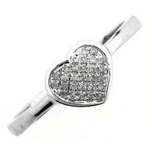 1/10 Carat Diamond 10k White Gold Heart Promise Ring