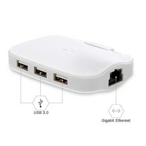 【日本正規代理店品】Kanex DualRole USB3.0対応Gigabit Ethernetアダプタ + 3ポートハブ KNX-OT-000011