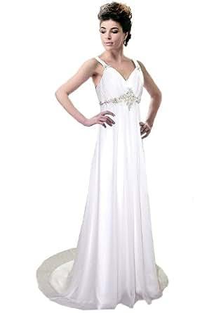 Faironly Xm22 White Ivory Straps Beach Wedding Dress Bridal Gown (XS, Ivory)